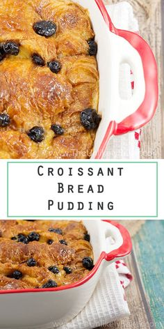 Boozy, lemony, buttery croissant bread pudding worth waking up early for. Easy No Bake Desserts, Best Dessert Recipes, Desert Recipes, Brunch Recipes, Delicious Desserts, Breakfast Recipes, Bread Pudding With Croissants, Croissant Bread, Bread Puddings