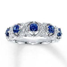 Natural Sapphire Ring 1/3 ct tw Diamonds  10K White Gold-Kay Jewelers