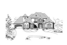 Country Houseplans # OHP-30638 has an open floor plan conducive to entertaining friends and family and a large rear porch area with outdoor fireplace.  A guest suite and three upper floor, secondary bedrooms contributes to the guest ready house that will be the talk of the entire family.