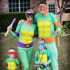 TMNT family Halloween costumes Halloween Costumes Ninja Turtles, Diy Ninja Turtle Costume, Couple Halloween Costumes For Adults, Kids Costumes Boys, Costumes For Teens, Halloween Costumes For Girls, Pirate Costumes, Couple Costumes, Princess Costumes