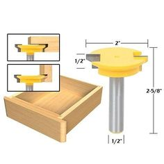 Woodworking Jigs Joinery :: Jointing Router Bit Set -Lock Miter, Glue Joint, Drawer Front -Yonico 15336 - The Yonico 15336 Joint making Router Bit Set includes 3 of the most popular joint making router bits. Two flute carbide cutters