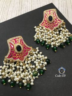 Kundan Earrings Available at Ankh Jewels For booking WhatsApp on 91 - March 09 2019 at Indian Jewelry Earrings, Indian Jewelry Sets, Fancy Jewellery, 18k Gold Jewelry, Jewelry Design Earrings, Indian Wedding Jewelry, Ear Jewelry, Stylish Jewelry, Bridal Jewelry