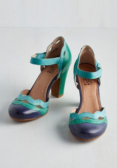 Sights in the City Heel in Teal. Take in the views of spectacular faraway cities while dressed to the nines in these darling heels by Miz Mooz. #blue #modcloth