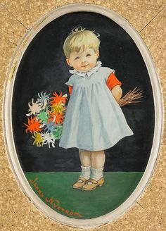 Jenny Eugenia Nyström (1854 - 1946) «Flicka med blomster»