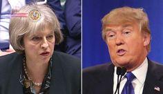 May e Trump intensificarão laços, mas diferem em relação à Rússia. O presidente dos EUA, Donald Trump, e a primeira-ministra britânica, Theresa May, concord