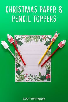 Christmas Pencil Toppers and Writing Paper: These printables allow you to make several different types of holiday pencil toppers (multicultural Santas, Reindeer, a Snow Person/ Snowman, Penguin and a fox!). Use the Christmas writing paper printable for a letter to Santa, holiday story, to write a favourite Christmas recipe or to recount a Christmas holiday event! The winter greenery and berries decorate this writing template and provide you with regular lines and primary ruled, perfect for…