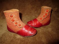 ANTIQUE VICTORIAN RED LEATHER & BROCADE FABRIC SCALLOPED BUTTON BABY SHOES~BOOT
