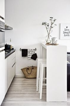 The 11 Best Small Studio Apartment Room Dividers Struggling with an odd room layout? These are our 11 favorite small studio apartment room dividers to segment any space. Kitchen Furniture, Kitchen Interior, Kitchen Decor, Studio Interior, Interior Design, Kitchen Ideas, Kitchen Storage, Furniture Design, Kitchen Baskets