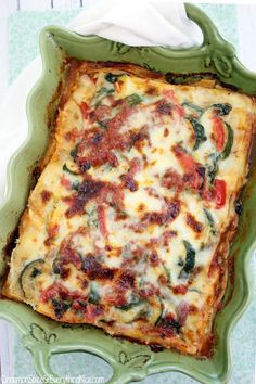 With zucchini, spinach and a ton of gooey cheese! #lasagna #pasta #zucchini