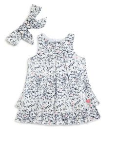 3 Pommes Infant Girls' Vine Print Tiered Dress & Headband Set - Sizes 3-24 Months