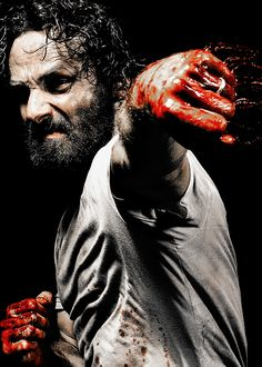 Rick Grimes. Look at all that blood flying about. Just look at it.