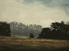 Morning Fog Over Treeline, Fine Art Print of Woodland Landscape Oil Painting by Kai Samuels-Davis