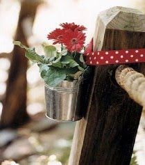 Perfect pew decorations for the rustic red wedding we're planning!