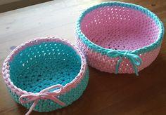 Crochet bowl with Spagetti Yarn / Spagetti Yarn ile örülmüş sepet www.eceninhobileri.com