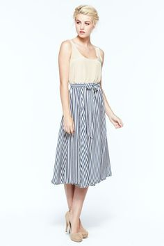 striped midi skirt and pale tank {perfect for spring and summer}
