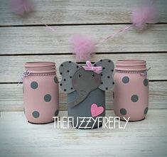 Original Handpainted Set of 3 Elephant Pink/Grey Mason Jar