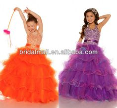 2013 Popular and pageant halter shining heavily beaded Flower Girl Dress For 7 Years Old JW0044 $78~$148