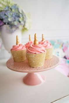 What pretty unicorn cupcakes at this Unicorn birthday party!!! See more party ideas and share yours at CatchMyParty.com