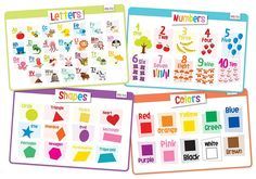 merka Educational Kids Placemats - Set of Alphabet, Numbers, Shapes, Colors - Bundle - Non Slip & Washable Learning The Alphabet, Toddler Learning, Toddler Toys, Kids Alphabet, Learning Tools, Learning Resources, Montessori, Color Flashcards, Spanish Flashcards