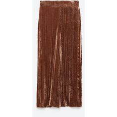 VELVET CULOTTES - NEW IN-WOMAN   ZARA United States ($100) ❤ liked on Polyvore featuring pants, capris, velvet trousers, brown pants, velvet pants, brown trousers and brown velvet pants