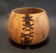 """Spalted + coloured beech bowl with """"stitched"""" split 9 cm tall, finished with raw linseed oil £45 + p+p"""