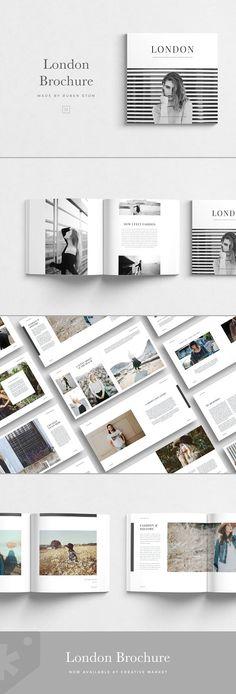 London Brochure by Ruben Stom on Creative Market - Templates Engine Portfolio Covers, Portfolio Book, Fashion Portfolio, Portfolio Design, Email Newsletter Template, Pamphlet Template, Brochure Template, Luxury Brochure, Corporate Brochure