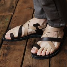 South Korea Shopping 2013 summer fashion personality Korean fashion handsome British men leather sandals tide | See more about British Men, Leather Sandals and Sandals.