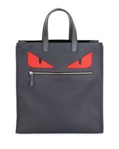 Monster-Eye Nylon Tote Bag, Gray/Red by Fendi at Neiman Marcus.