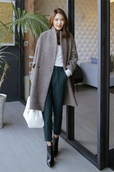 Oversized Wool-Blend Coat & High Waisted Pants #streetstyle #koreanstyle