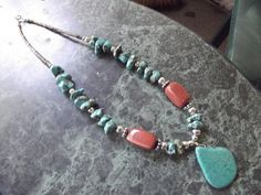 Authentic Handmade Native American Navajo Turquoise and Goldstone Necklace by DeDaCreations on Etsy, $55.00