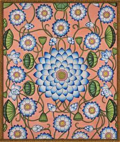 garden of the far east Pichwai Paintings, Indian Art Paintings, Madhubani Art, Madhubani Painting, Kalamkari Painting, Phad Painting, Indian Arts And Crafts, Indian Folk Art, Cow Art