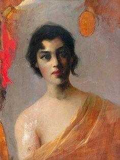 "pintoras: "" Helmi Biese (Finnish, 1867 - Dark Hair (via Bukowskis) "" Contemporary History, Paintings Famous, Woman Painting, Dark Hair, Female Art, Helmet, Illustration, Artwork, Inspiration"