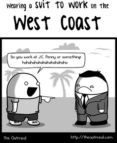 Wearing a suit to work, East Coast VS West Coast