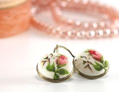 Antique Leverback Earrings  Romantic Roses by PatchworkMillJewelry