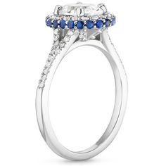 18K White Gold Sapphire Circa Diamond Ring with Sapphire Accents (1/3 ct. tw.), top view