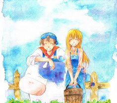 Harvest Moon : Friends of Mineral Town. Male and Female PCs - Jack and Claire Bioware Games, Harvest Moon Game, Rune Factory, Team Fortress 2, Mineral, Art Boards, Claire, Videogames, Anime Art