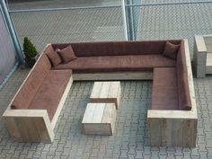 Steigerhouten Loungebank Hoekbank Winkelinrichting Tafel Meubels Hoek lounge…