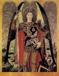 """The Archangel St Michael"" 1456 -60 Tempera on panel, Jaume Huguet, Museu Nacional d'Art de Catalunya, Barcelona, Spain"