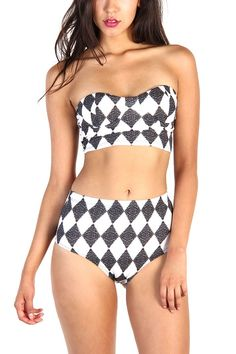 Diamond Print Bikini Set - Black/White