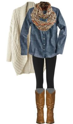 Denim shirt, cream cable knit sweater, black skinny jeans, camel boots or brown slouchy boots and floral scarf.