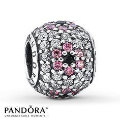 Pandora Charm Black, Pink & Clear CZ Sterling Silver