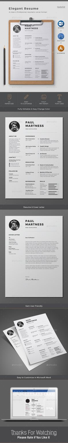 Buy Resume by Classicdesignp on GraphicRiver. Professional Resume / CV Template with super modern and professional look. Elegant page designs are easy to use and c.