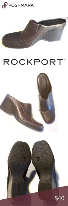 "Rockport Mule Clog Brown Slip on (NIB) New in Box  ROCKPORT BRAND  Mule / Clog Shoes Women Size 7 1/2 Brown Leather (Colors may vary from screen to screen depending on the type of light.) Heel is 2-3/4"" height Has the look of BOOTS when they are on GORGEOUS SHOES!!!!  Thanks for looking! Rockport Shoes Mules & Clogs"