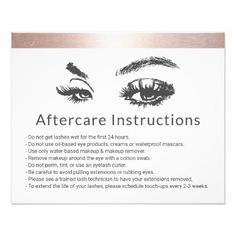 Eyelash Extensions Rose Gold Border Aftercare Flyer