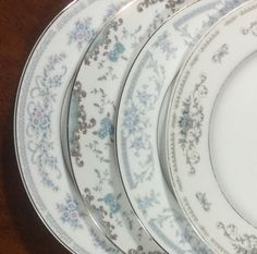 6 BLUE Mismatched Vintage Dinner Plates for Weddings, Showers, Tea Parties…