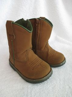 Boys Boots 5 Toddler Brown Hunting Cowboy Sports Baby Shoes Zip Up