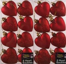 Set Of 16 Glitter And Matt RED Hearts Christmas Tree Baubles Decorations