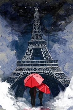"Maxwell Dickson ""Rainy Night in Paris"" Romantic Eiffel Tower Artwork Paris Canvas, Paris Wall Art, Paris Art, Tour Eiffel, Torre Eiffel Paris, Canvas Wall Art, Wall Art Prints, Artwork Wall, Paris Kunst"