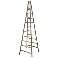 Very Tall Signed French Oak Ladder in Original Distressed Paint | From a unique collection of antique and modern ladders at https://www.1stdibs.com/furniture/more-furniture-collectibles/ladders/