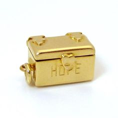 "Vintage 14K Gold 3D Hope Chest Charm ""Opens to an Enameled Man from charmalier on Ruby Lane"